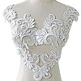 Off-White Bridal Dress Floral Patches Cotton...