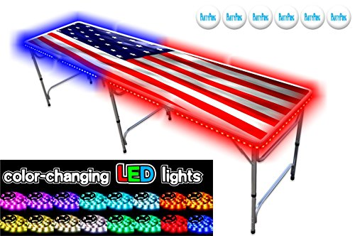 Read About PartyPongTables.com 8-Foot Professional USA Edition Beer Pong Table with LED Glow Lights