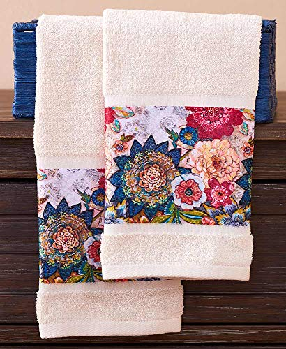The Lakeside Collection Multicolored Floral Blossoms Bathroom and Kitchen Hand Towels - Set of 2