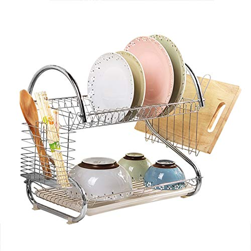 Youyijia 2 Tier Dish Drainer Rack Chrome Plate Dish Cutlery Cup Drainer Rack for Kitchen