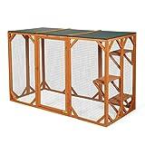 JAXPETY Large Wooden Outdoor Cat Pet Enclosure Cage Playpen Kennel Pet Housing w/3 Platforms, Orange
