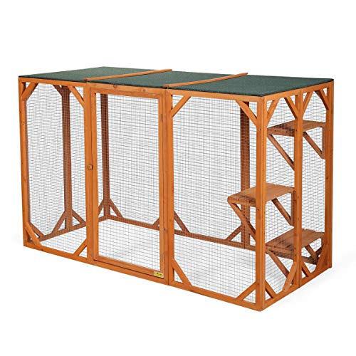 JAXPETY Wooden Outdoor Cat Enclosure