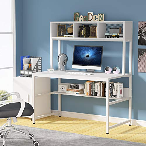 Tribesigns 47 inch Computer Desk with Hutch and Bookshelf, Home Office Desk with Storage Shelf, PC Laptop Workstation Gaming Writing Study Computer Table, Space-Saving Desk for Small Space
