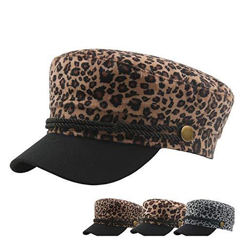 HHF Caps y Sombreos Gorra Boina otoño Invierno for Mujer, Gorra Vintage Plana de Leopardo de Lana for Hombre, Gorro Azul Marino (Color : Dark Khaki, tamaño : 56-58CM)