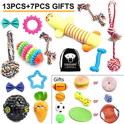 SZKOKUHO (13+7 Pack) Puppy Dog Chew Toys Set