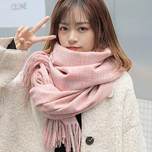 Bufanda Femenina otoño e Invierno versión Coreana de Wild Tide ins a Cuadros japoneses Pata de Gallo Bufanda de Felpa Chal de Doble uso-190# -Rosa