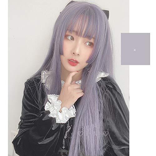 Vrouwen haar pruik Lolita 60cm lange rechte paars Synthetic Bangs Japan schattige pop Lady Cosplay Pruik Haar stukken