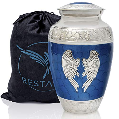 Angel Wings Urn. Blue Cremation urns for Human Ashes Adult Large. Decorative urns for Memorial, Funeral or Burial by Restaall
