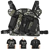 Radio Chest Harness Chest Front Pack Pouch Holster Vest Rig Walkie Talkie Chest Front Storage Bag Tactics Outdoor Vest Rig Carry Bag Rescue Essentials(Plateau Camouflage)