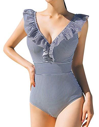 heekpek Donna Costume da Bagno Intero Elegante Striscia Multiway Imbottito Push Up Bikini Un Pezzo Sexy Tankini Swimwear Costumi da Mare da Donna Beachwear Disegno Floreale