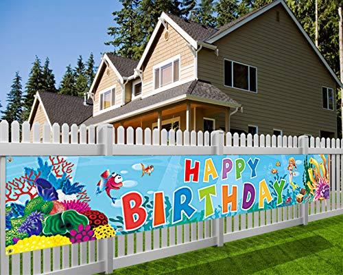 HOWAF Mundo Marino Cumpleaños Pancarta para Niños Cumpleaños Decoración de Coche, Tela Pancarta para Niños Cumpleaños Fondo Pared Jardín Mesa Decoración, 7,9 x 1,3 Pies