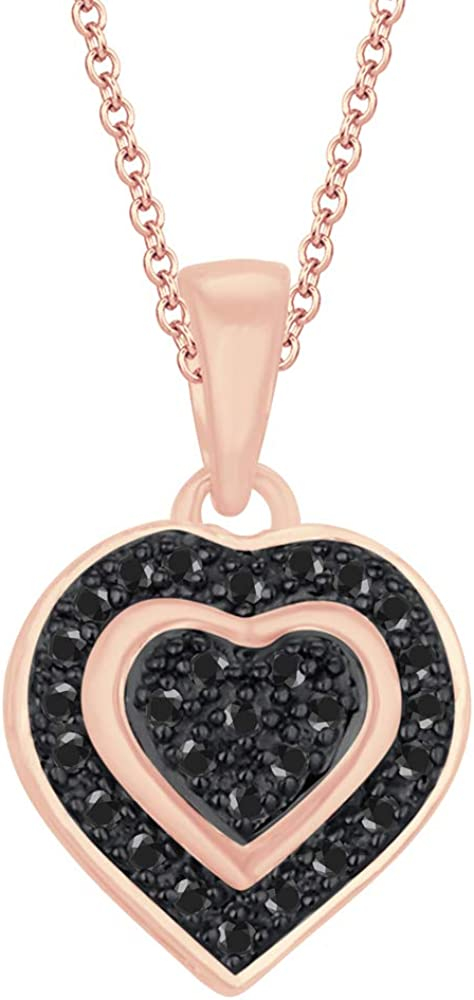 HN Jewels Pave Set Heart Pendant Necklace 1.30Ctw Round Cubic Zirconia 14K Rose Gold Plated Sterling