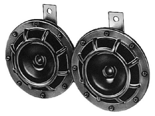 HELLA 3AG 003 399-081 Horn - B133 - 12V - 118dB(A) - Frequenzbereich: 375Hz/500Hz - Starkton - Gehäusefarbe: schwarz - Flachsteckanschluss - Menge: 2 - Set