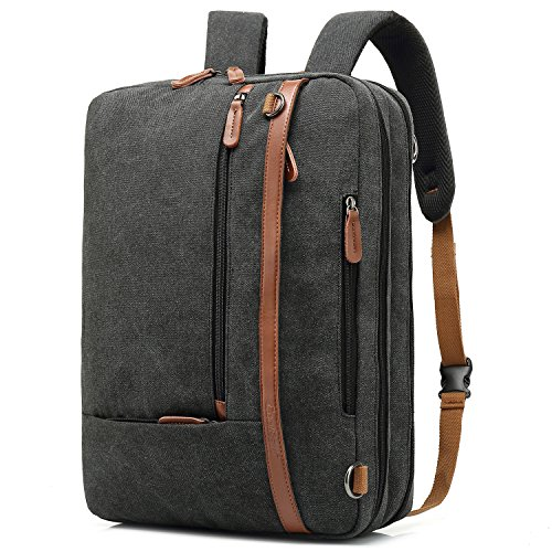 CoolBELL Convertible Backpack Shoulder bag Messenger Bag Laptop Case Business Briefcase Leisure Handbag Multi-functional Travel Rucksack Fits 15.6 Inch Laptop For Men/Women (Canvas Black)