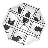 KASAMO猫柄折りたたみ傘 子供 キャラクター ワンタッチ自動開閉 耐強風 折りたたみ傘 レディース 晴雨兼用 軽量 紫外線傘 UVカット (カラー10猫柄)