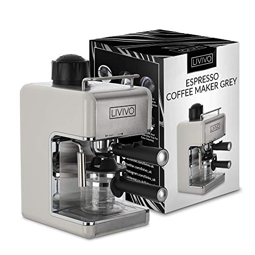 LIVIVO Coffee Maker Machine 2020 Model with Milk Frothing Arm for Cappuccino, Espresso and Filter Ideal for Home and Office (Cream)
