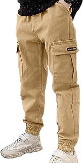 Kid Boy Casual Cargo School Pants Drawstring Waist Jogger Pants with Pockets