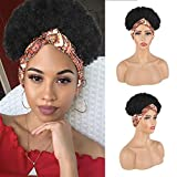 Aisaide Short Afro Kinky Curly Wigs for Black Women,Synthetic High Puff Afro Ponytail Drawstring Wrap Wigs 2 in 1,Afro Puff Headband Wig Headwrap Wig with Headband Attached Turban Wig Updo Wig