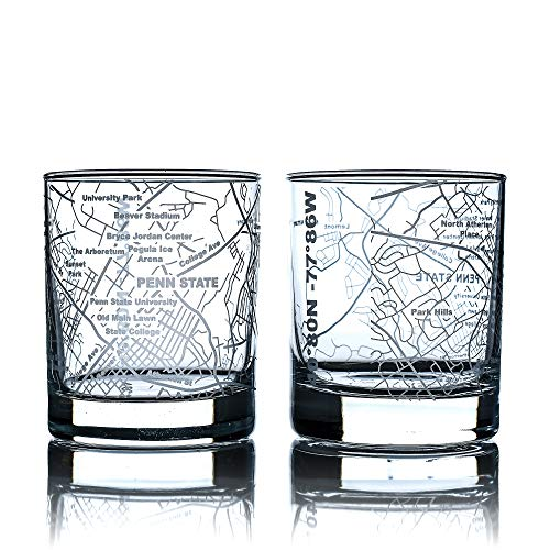 Greenline Goods Whiskey Glasses – Etched Penn State Campus Map (Set of 2)| 10 Oz Tumbler Gift Set - Game Day Old Fashioned Rocks Glasses