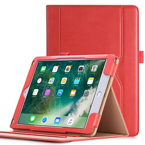 HeFFuny Hülle kompatibel für iPad 9.7 Zoll 2017/2018, iPad Air 2, iPad Air, PU Leder Case Cover Halter Tasche Etui Schutzhülle mit Stifthalter 3 Betrachtungswinkel, Rosa