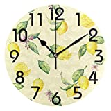 Naanle Tropical Lemon Flower Leaves Pattern Round Wall Clock Decorative, 9.5 Inch Battery Operated Quartz Analog Quiet Desk Clock for Home,Office,School