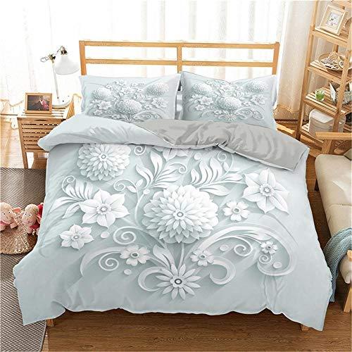 Funda nórdica, juegos de cama con estampado de rosas en 3D Juegos de ropa de cama con edredón de flores Juego de funda nórdica para dormitorio / Juego de cama Funda de edredón y funda de almohada