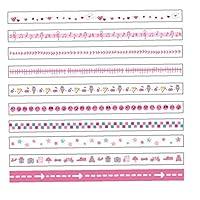 10ロール/ボックス和紙テープセットスキニー装飾マスキング和紙テープDIY日本のマスキングテープ用品