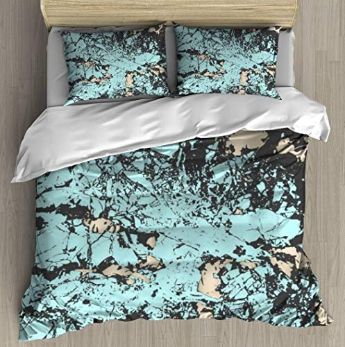 JONINOT Soft Print Cover Set,Abstract Grunge pattina Effect Blush Marble,3 Piece Bedding Set with 2 Pillow Shams,Twin Size