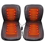 Random 1 Pair 12V Auto Car Front Heated Heater Seat Cushion Pad Cover Hot Warmer Pad with HI/LO Mode(2 Pack, Black)