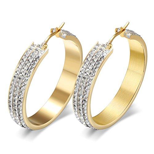 Vnox Pendiente de aro de Acero Inoxidable para Mujeres Plaza de Tubo de Diamante de Cristal Blanco Acento,18K Oro Platead