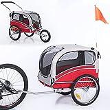 Sepnine Leonpets 2 in 1 Dog Stroller Pet Dog Bike Trailer Bicycle Trailer and Jogger,Easy Fold 20303 (Red/Grey)