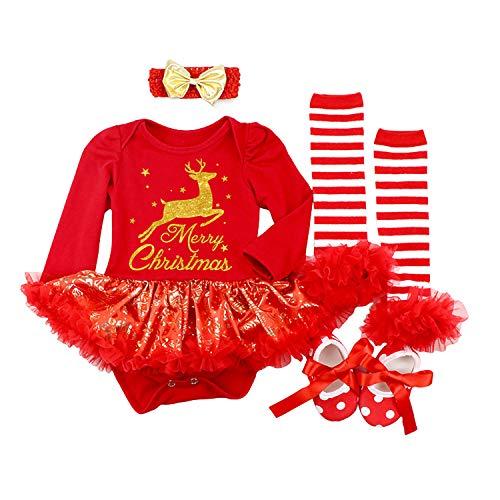 BabyPreg Baby Girls My 1st Christmas Santa Costume Party Dress 4PCS (Red Deer Long, 12-18 Months)