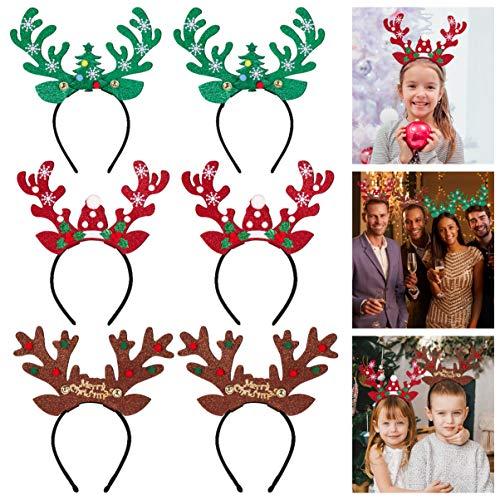 FRCOLOR 6PCS Weihnachts Rentiergeweih Stirnband Weihnachtskopfbedeckung Haarreifen zum Weihnachtskostüm Party Dekoration Weihnachtsfeier liefert Geschenke
