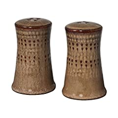Embossed beadwork is highlighted in earth tones of browns and reds that bring a natural and sophisticated look and feel to your table Allow your guests to add just the right amount of seasoning with our Salt and Pepper Set. A must for every table Sal...
