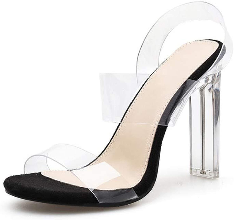 JQfashion Women's High-Heeled Sandals Transparent Sexy Crystal Heeled High-Heeled shoes
