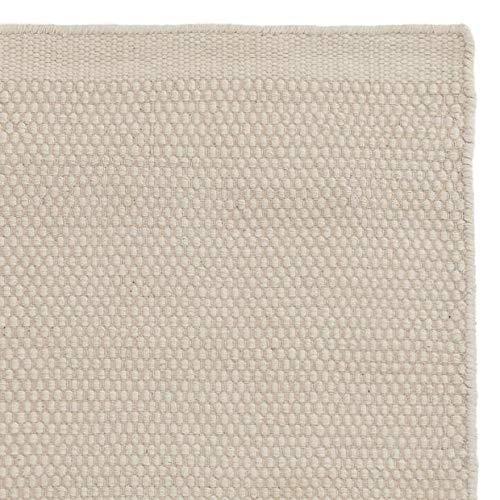 """URBANARA XL Teppich """"Kolong"""" – 300cm x 400cm, Eierschale, 100% Wolle – Robuster Wollteppich mit Flachen Schlingen, Handgewebt, Übergroß"""