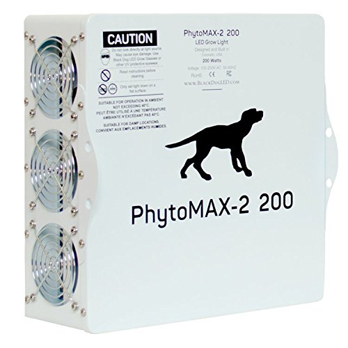 Black Dog LED PhytoMAX-2 200 | LED Grow Lights | High Yield Full Spectrum Indoor Grow Light with Bonus Quick Start Guide