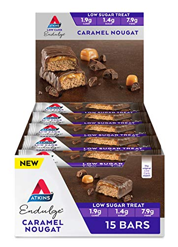 Atkins Endulge Caramel Nougat Bars   Keto Friendly Bars   15 x 35g Low Carb Chocolate Bars   Low Carb, Low Sugar, High Fibre   15 Bar Pack
