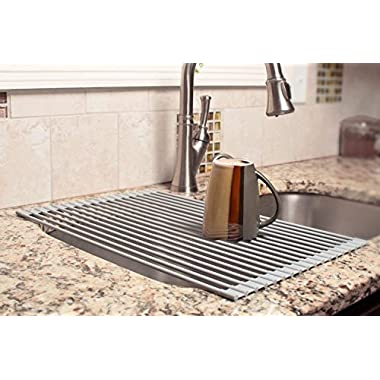 MOHICO Dish Rack Roll-up Dish Drying Rack Stainless Steel Over the Sink Countertop Kitchen Rack Drainer Multipurpose Heat Resistant with Anti Slip Silicone Cover-Large 20 1/2(L) x 13 (W)