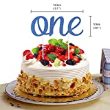 Baby 1st Birthday Boy Decorations with Crown High Chair Banner Cake Smash Party Supplies - Happy...