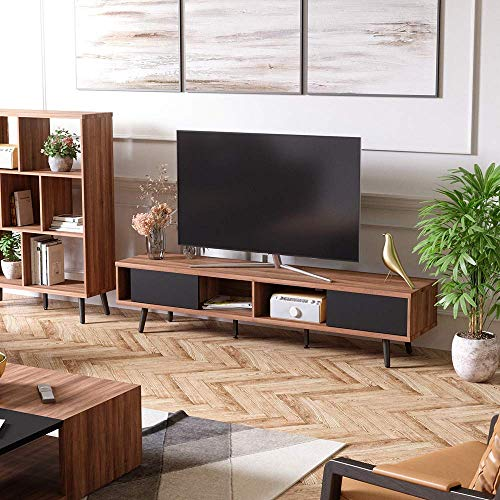Bestier 70 Inch Large Entertainment TV Stand, Wood Media Storage Console Center for TV, Mid Century Modern Entertainment Center Hollow Core TV Stand...