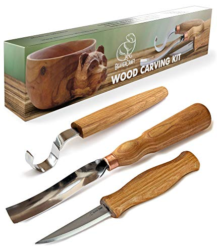 BeaverCraft S14 Wood Carving Tools Kit Wood Carving Set Wood Carving Hook Knife Set Spoon Carving Tools Spoon Knife Set Bowl Kuksa Scoop Cup Carving Tools Wood Gouges (Spoon Carving Kit)