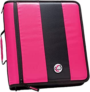 Case-it 2-Inch Ring Zipper Binder, 5 - color tabbed expanding file PINK