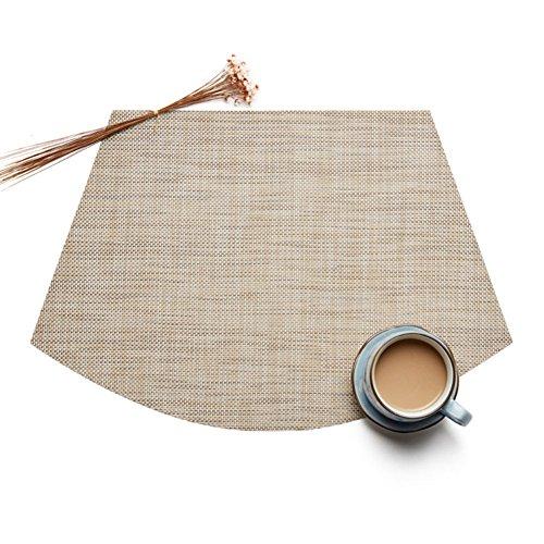 Treestar en forme d'éventail PVC Table Tapis antidérapant en bambou veines Tissage Napperon Désir Isolation Drapeau de table sur mesure pour table de salle, PVC, Coffee Color 3, 45 * 30 * 0.1 cm