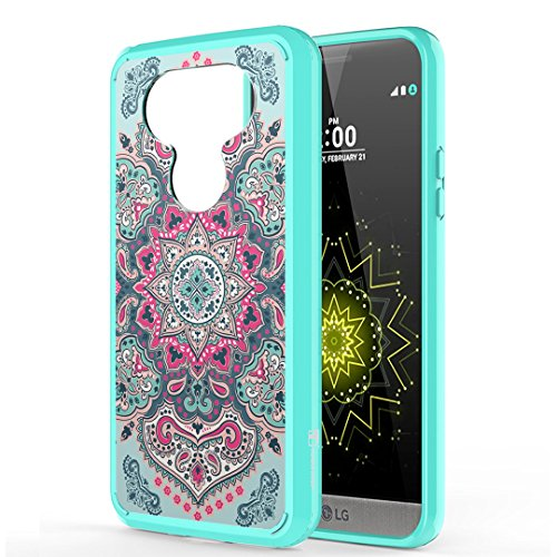 Moriko Case Compatible with LG G5 [Hybrid Slim Hard Back Shield Fused TPU Drop Protection Mint Green Case Cover] for LG G5 - (Indian Mandala)