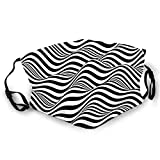 niBBuns Fillter Face Cloth for,Artistic Optical Illusion Look Monochrome Stripes Waves Print M,Cold Mouth Dustproof Double Protection
