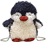 Bolso de Bolso de pingüino mimenino de la Mujer Bolso de Hombro de la Cadena de la Cadena de la Cremallera de la Pelusa del Peluche (Color : Azul Oscuro)