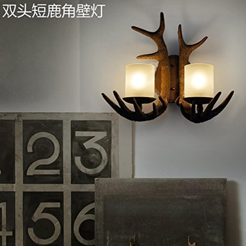 StiefelU LED Wandleuchte nach oben und unten Wandleuchten Licht in lndlichen Wohnzimmer Schlafzimmer Garten Restaurant antikes Bett Kunstharz Geweih Wand leuchten, Dual Head kurze Geweih wand Lampe