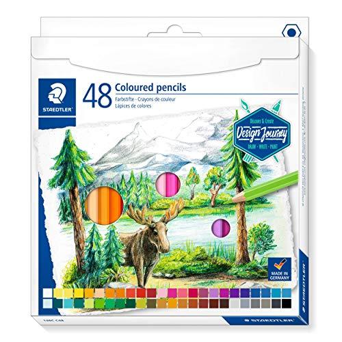 STAEDTLER 146 C48 Buntstifte (klassisches Sechskantformat, weiche Mine, hoch pigmentierte Farben) Kartonetui mit 48 Stiften in leuchtenden Farben