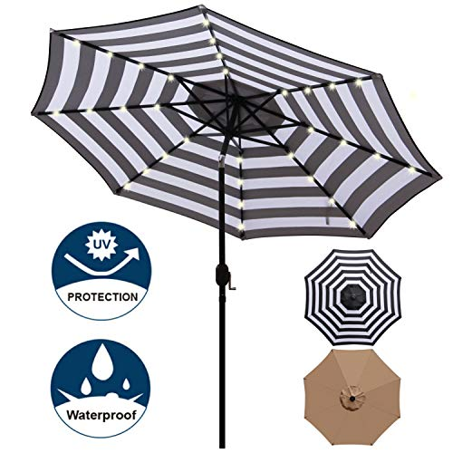 Blissun 9 ft Solar Umbrella, 32 LED Lighted Patio Umbrella, Table Market Umbrella, Outdoor Umbrella for Garden, Deck, Backyard, Pool and Beach (Black and White)